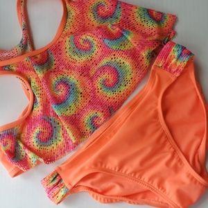 wonder nation neon tie-dye swimsuit - XL (14-16)